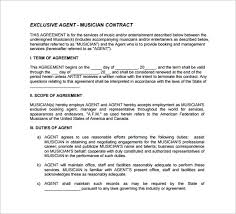 music management contract agent contract template