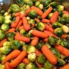 baby carrots brussels sprouts glazed with brown sugar and pepper