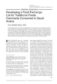 Pdf Developing A Food Exchange List For Traditional Foods