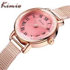 KIMIO Для женщин Элитный бренд Часы розового золота сетки ...