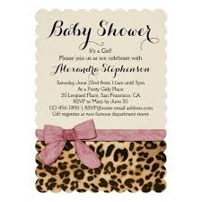 Leopard Print Hot Pink Girl Baby Shower Invitation Personalized