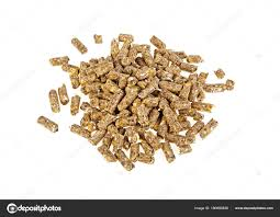 Pelleted compound feed on a white background, wheatfeed pellets ...