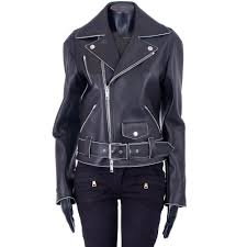 details about celine 3950 black belted zipped biker shiny leather jacket by phoebe philo