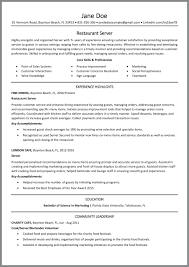 Server Experience Resume Examples Resume Restaurant Server Resume Sample