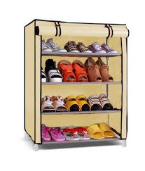 Pindia Fancy & Portable 4 Layer Cream Collapsible Shoe Rack Organizer