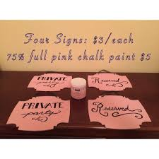 wooden signs pink chalk paint