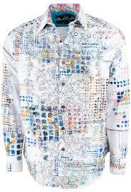 Robert Graham Size Chart Robert Graham Terri All Over Print White Sport Shirt
