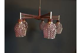 retro vintage mid century teak pink glass ceiling chandelier light 1960s 70s photo 1