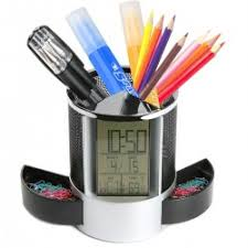 Geekdigg Multifunctional Pen Holder Pencil Container Digital LED Desk Clock  Mesh with Calendar Timer Alarm Clock