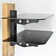 ... Shelving For Cable Boxes On The Wall Black Glass Shelf With Metal Wall  Mounted New Component ...