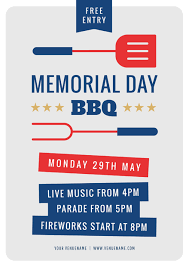 Memorial Day Bbq Graphic Template With Red Blue Icons Easil