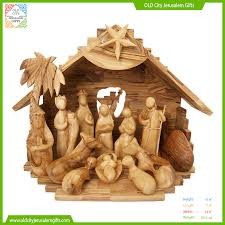 classical faceless olive wood nativity made in bethlehem