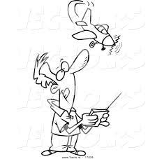 Vector of a Cartoon Man Flying a Remote Control Plane - Coloring ...