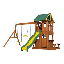 Backyard Discovery Oakmont Residential Wood Playset with Swings