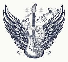 Obraz Kytara A Křídla Tetování Elektrická Kytara Růže Křídla A Hudební