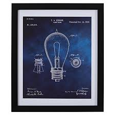 black and white print of 1892 bulb in silver frame on framed 10 silver squares wall art with artwork for home wall decor art hangings decorations