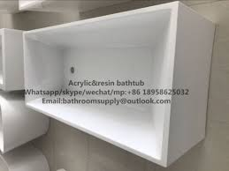 small 980mm long square freestanding bathtub with seat inside