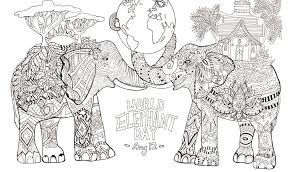 Fresh World Elephant Day Elephants Coloring Pages For Adults Free