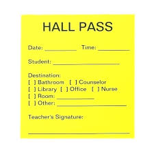 School Hall Pass Template To Obtain At High School Bathroom Pass Template Definition