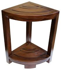 small teak wood shower stool bench bare decor in solid sh bathrooms appealing corner bath spa table