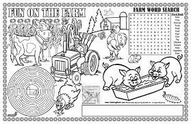 Fun On The Farm Colorable Placemats Megans Cute Coloring Pages