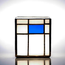 ann smyth stained glass mondrian blue tealight holder stained glass gift tea light candle