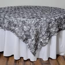 table overlays. 85x85-034-satin-ribbon-roses-table-overlay-wedding- table overlays