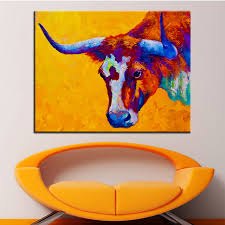 large size printing oil painting texas longhorn cow wall painting steampunk wall art picture for living