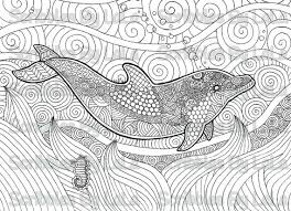 Small Picture Printable Adult Coloring Page Dolphin High Quality PDF