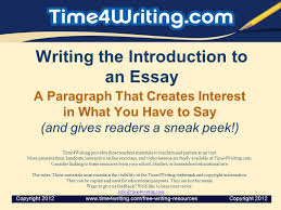 writing the introduction to an essay ppt  writing the introduction to an essay