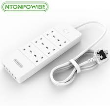 <b>NTONPOWER Extension Lead with</b> USB Charger 2.4A 5 Port 6 ...
