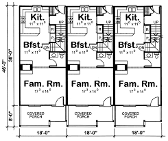 Marydel Multi Family Triplex Plan D    House Plans and MoreMulti Family House Plan First Floor   D    House Plans and More