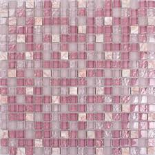 front side of the stone glass blend pink mosaic tile k1638