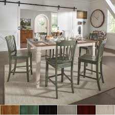 elena antique white extendable counter height dining set slat back upholstered dining room chairs with