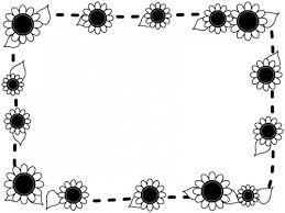 ひまわりと点線の白黒囲みフレーム飾り枠イラスト 無料イラスト