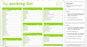 trip packing list excel template savvy spreadsheets trip packing list excel template screen view