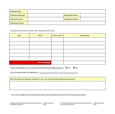 Volunteer Time Off Request Form Vacation Template Employee