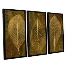 leaf gold 4 3 piece framed graphic art set on leaf wall art set with 3 piece lit leaves wall art wayfair