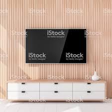 Smart Tv Mockup Hängen Die Holzwand, Wohnzimmer Lizenzfreies Stock Foto