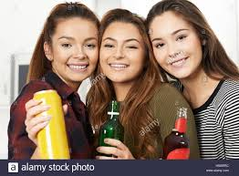 Teen girls drink alcohol