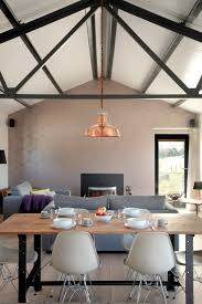 gold metallic wallpaper with white dining room farmhouse and renew striking copper pendant lights