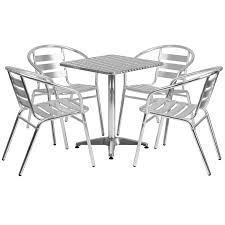23 5 square aluminum indoor outdoor table set with 4 slat back chairs