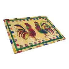 ine s treasures rooster tempered glass cutting board large heat resistant
