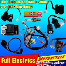 full motorcycle electrics wiring harness loom solenoid coil 150cc full wiring harness loom 150 200 250 300cc atv quad buggy electric start