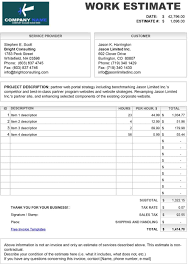 Sample Estimate Forms For Contractors Free Printable Estimate Forms Contractors 44 Template
