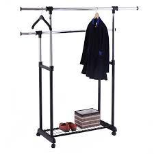 costway double rail rolling garment rack adjule clothes drying hanger laundry rack 3