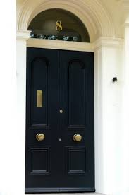 Delighful Black Front Door Knobs Hand Gold Leafed House Numbers On Transom And Intended Impressive Design