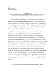 tok essay knowledge is generated through the interaction of tok essay knowledge is generated through the interaction of critical and creative thinking dialectic pop culture