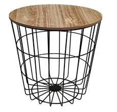 round metal side table with wood top