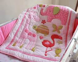 cater s crib baby bedding blanket set embroidery pink flamingos baby nursery crib per quilt fitted sheet dust ruffle duvet sets king king duvet cover